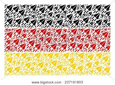 German Flag Composition Designed Of Space Ship Icons. Vector Space Ship Elements Are Composed Into C