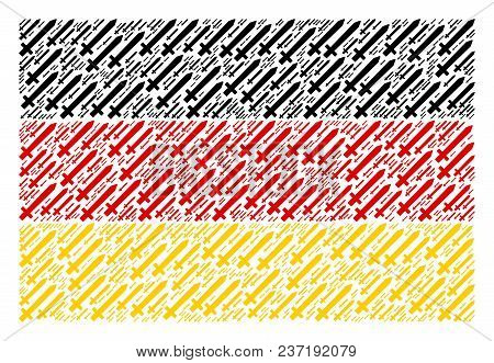 German Flag Concept Made Of Sword Design Elements. Vector Sword Icons Are Composed Into Mosaic Germa