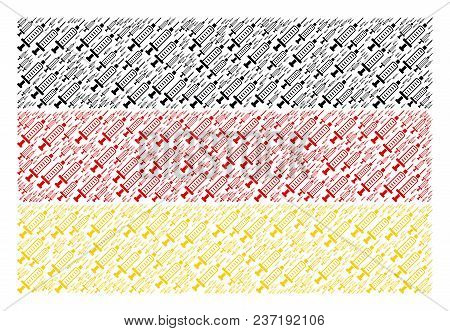 Germany Flag Composition Composed Of Syringe Design Elements. Vector Syringe Elements Are United Int