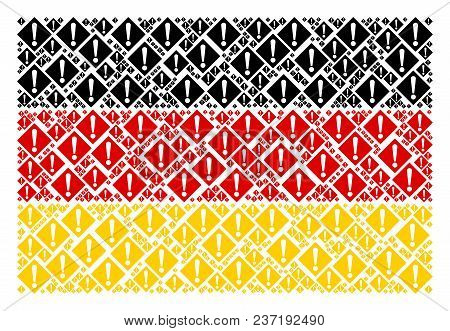 Germany State Flag Collage Done Of Warning Pictograms. Vector Warning Elements Are Organized Into Co