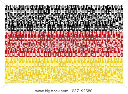 German Flag Mosaic Combined Of Wine Bottle Design Elements. Vector Wine Bottle Icons Are Composed In