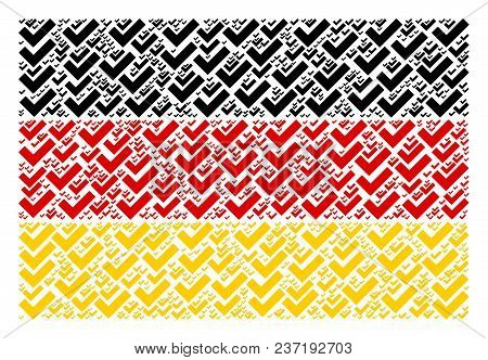 Germany State Flag Concept Combined Of Yes Icons. Vector Yes Icons Are United Into Geometric German