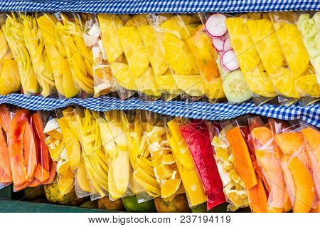 Sliced Fruit In Bags On Street Cart, Guatemala, Central America