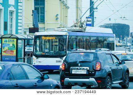 St. Petersburg, Russia - April, 17, 2018: trolleybus on the street of St. Petersburg