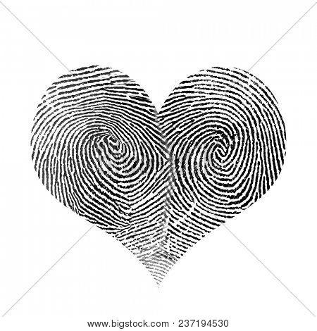 Fingerprint in heart shape. 3D rendering
