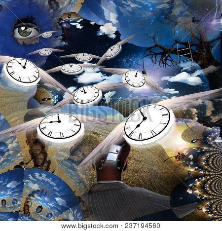 Dreamlike Illustration. Winged clocks represents flow of time. 3D rendering