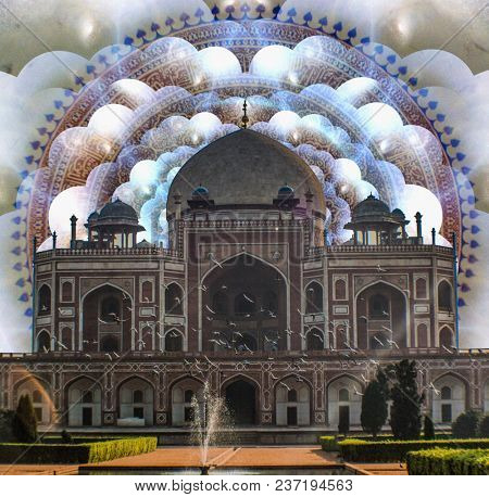 Artwork. Indian Temple. Multilayered space and mandala. 3D rendering