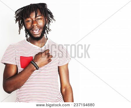 Young Handsome Afro American Boy Stylish Hipster Gesturing Emotional Isolated On White Background Sm