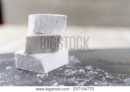 Stack Of Three Homemade Marshmallows With Copy Space