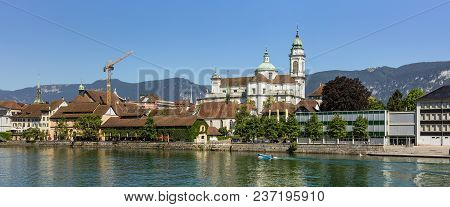 Solothurn, Switzerland - 10 July, 2016: Buildings Of The Historic Part Of The City Of Solothurn Alon