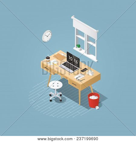 Isometric Vector Home Office Concept Illustration. Workplace Interior Set: Mid Century Office Table,