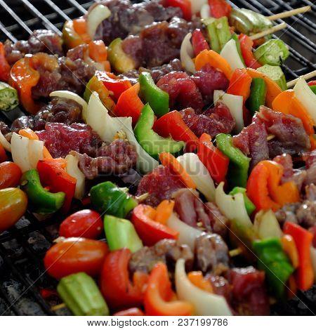 Barbecued Food, Beef With Vegetables Skewers