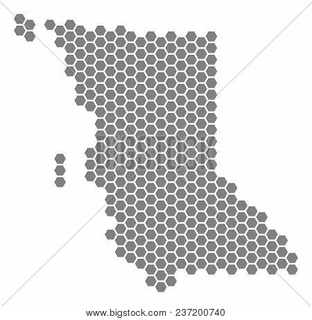 Gray Hexagon British Columbia Province Map. Vector Geographic Map In Grey Color On A White Backgroun