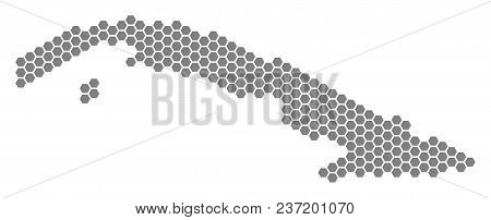 Grey Hexagon Cuba Map. Vector Geographical Map In Grey Color On A White Background. Vector Compositi
