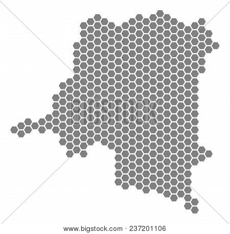 Grey Hexagon Democratic Republic Of The Congo Map. Vector Geographical Map In Gray Color On A White