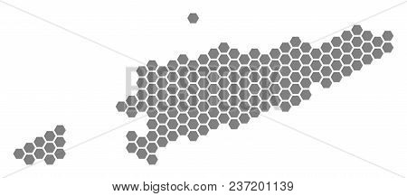 Grey Hexagon East Timour Map. Vector Geographical Map In Gray Color On A White Background. Vector Pa