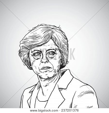 Theresa May. Vector Illustration Portrait Drawing Of Prime Minister Of United Kingdom. April 21, 201