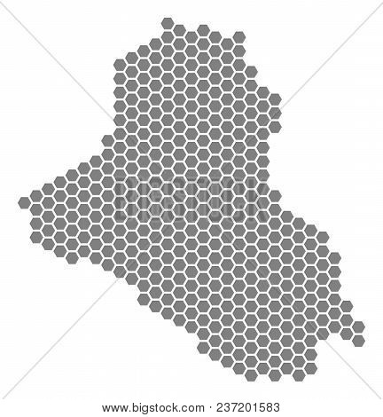 Grey Hexagon Iraq Map. Vector Geographical Map In Gray Color On A White Background. Vector Pattern O