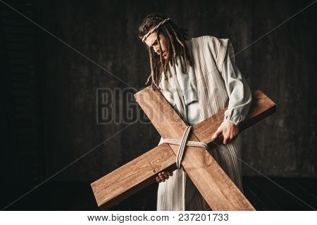 Great martyr with cross, black background