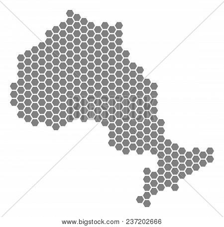 Grey Hexagon Ontario Province Map. Vector Geographical Map In Grey Color On A White Background. Vect