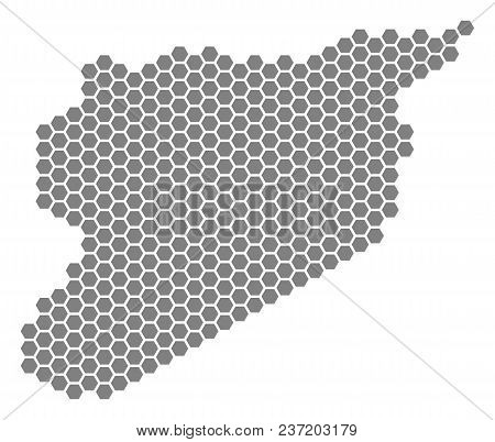 Grey Hexagonal Syria Map. Vector Geographic Map In Grey Color On A White Background. Vector Pattern