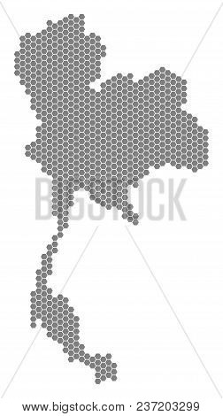 Grey Hexagonal Thailand Map. Vector Geographic Map In Gray Color On A White Background. Vector Compo