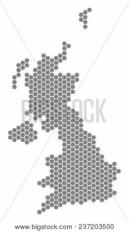 Gray Hexagonal United Kingdom Map. Vector Geographic Map In Grey Color On A White Background. Vector