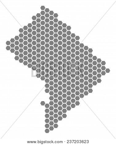Gray Hexagonal Washington Dc Map. Vector Geographic Map In Gray Color On A White Background. Vector