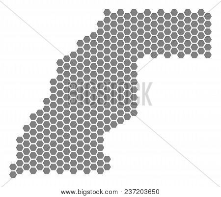 Grey Hexagon Western Sahara Map. Vector Geographic Map In Gray Color On A White Background. Vector M