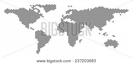 Gray Hexagon World Map. Vector Geographic Map In Grey Color On A White Background. Vector Compositio