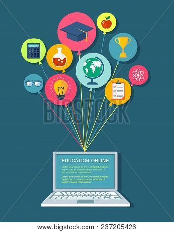 Online Education Flat Illustration With Laptop. Eps10