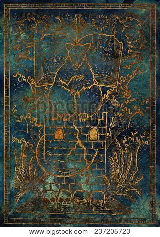 Golden Rat Symbol Silhouette On Blue Texture Background. Scary Rat Sitting On Tower With Book And My