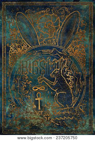Golden Rabbit Symbol On Blue Texture Background. Hair With Mortar And Pestle, Baroque And Floral Dec
