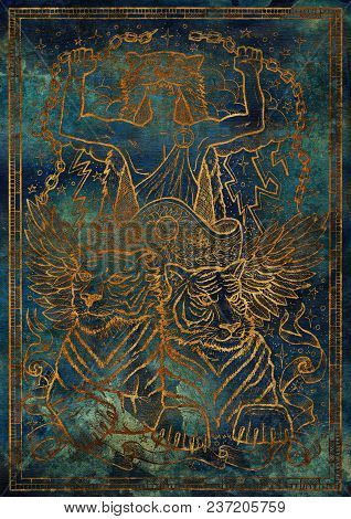Golden Tiger Symbol On Blue Texture Background. Chariot With Athletic Man, Tiger Beasts And Mystic S