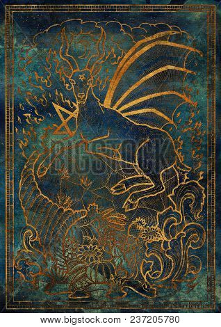 Golden Goat Symbol With Horn Of Abundance, Hell Fire And Diabolic Sign - Pentagram On Blue Texture B