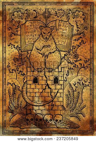 Rat Symbol On Antique Texture Background. Scary Rat Sitting On Tower With Book And Mystic Signs. Fan