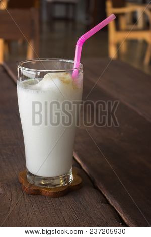 Caramel Milk Frappe In The Coffee Shop, Stock Photo