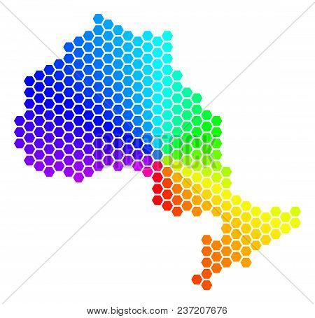 Hexagon Spectrum Ontario Province Map. Vector Geographic Map In Bright Colors On A White Background.