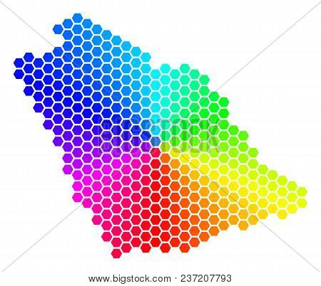 Spectrum Hexagon Saudi Arabia Map. Vector Geographic Map In Rainbow Colors On A White Background. Sp