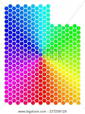 Hexagon Spectrum Utah State Map. Vector Geographic Map In Bright Colors On A White Background. Spect