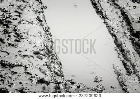 Tire Tracks In The Mud Closeup