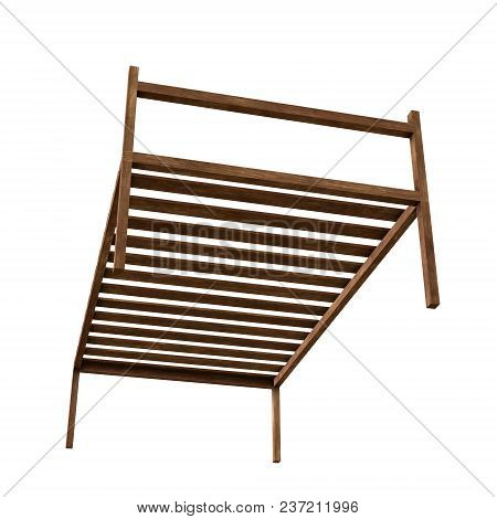 Base Orthopedic Wooden Bed 3d Render Illustration Isolated On White