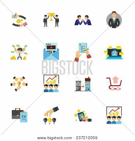 Business Icon Set. Can Be Used For Topics Like Teamwork, Management, Finance, Development