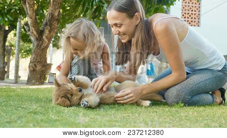 Mother And Child Playing With Puppy On A Warm Summer Day Outdoor. Happy Family Stroking And Having F