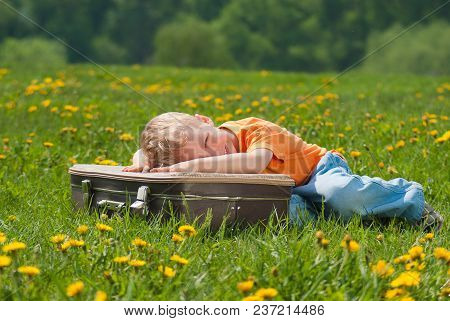 Portrait Of Cute Smiling Happy Face Of Adorable White Baby Laying On Brown Vintage Suitcase Outdoor