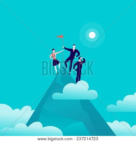 Vector Flat Illustration With Business People Standing On Mountain Peak Top Holding Flag On Blue Clo