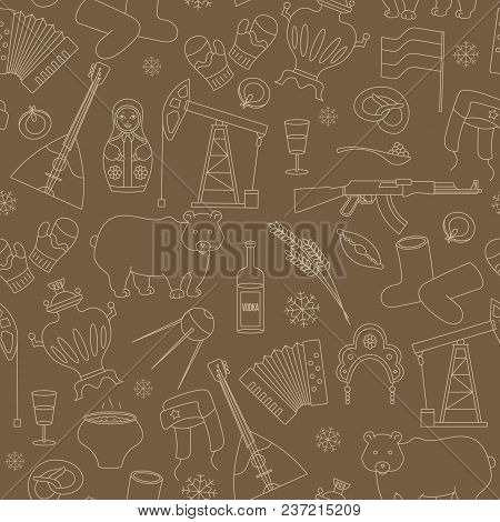 Seamless Pattern On The Theme Of Travel In The Country Of Russia, A Simple Outline Of Cartoon Icons