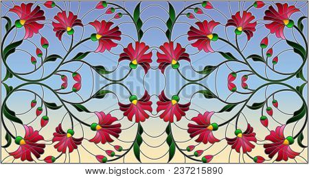 Illustration In Stained Glass Style With Abstract Pink Flowers On A Sky  Background,horizontal Orien