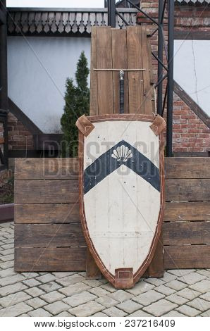 Outdoor Scene Of Medieval Way Of Life. Medieval Knight Attributes. Reconstruction Of Medieval Life