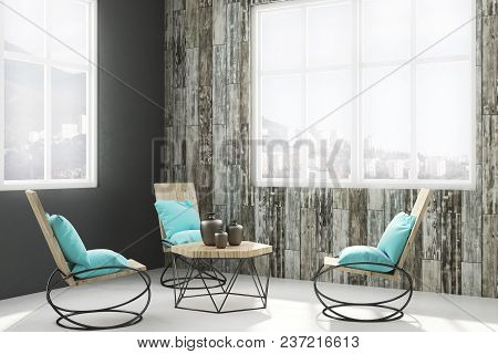 Comfortable Living Room Interior With Furniture, Decor Items, Window With City View And Daylight. 3d